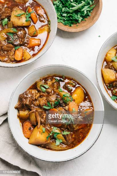 beef stew recipe flat lay still life - stew pot stock pictures, royalty-free photos & images