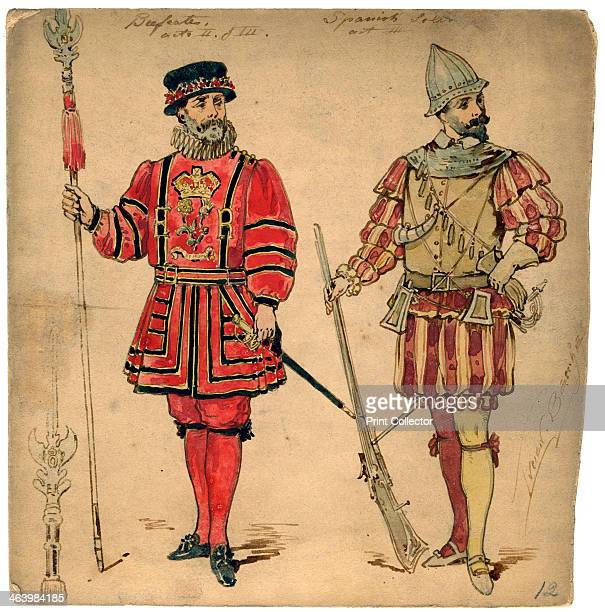 Beefeater and Spanish soldier 19th century Costume design by Lucien Besche