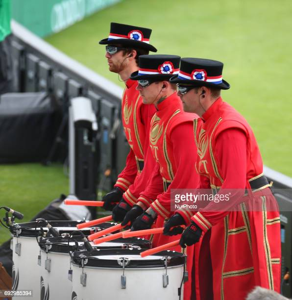 Beefeaters drummers during the ICC Champions Trophy match Group A between Australia and Bangladesh at The Oval in London on June 05 2017