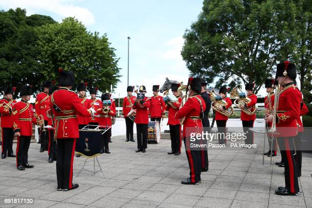 Beefeaters perform on Derby Day of the 2017 Investec Epsom Derby Festival at Epsom Racecourse Epsom
