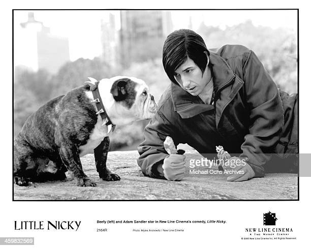 Beefy and actor Adam Sandler on set of the New Line Cinema movie 'Little Nicky' circa 2000