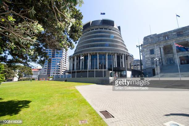 """""""Beehive"""" building at the New Zealand Parliament on Lambton Quay in downtown Wellington, New Zealand, November 28, 2017."""