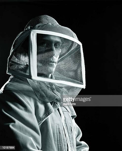Beekeeper wearing mask (Digital Enhancement)