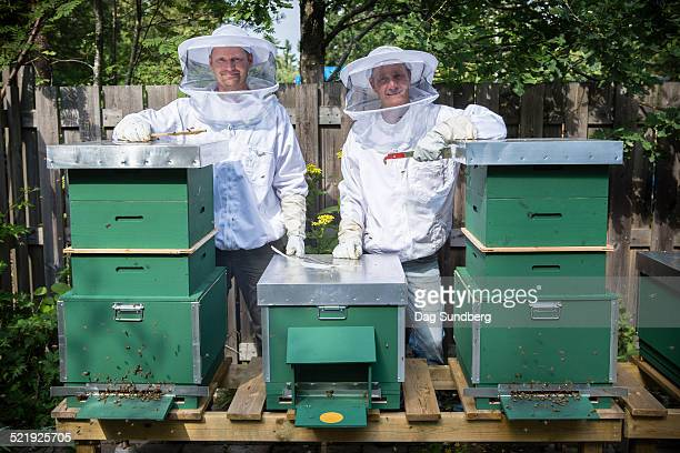 Beekeepers with modern beehives
