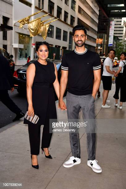 Beena Minhaj and Hasan Minhaj arrive to The Whitby Hotel for 'The Spy Who Dumped Me' screening on July 29 2018 in New York City