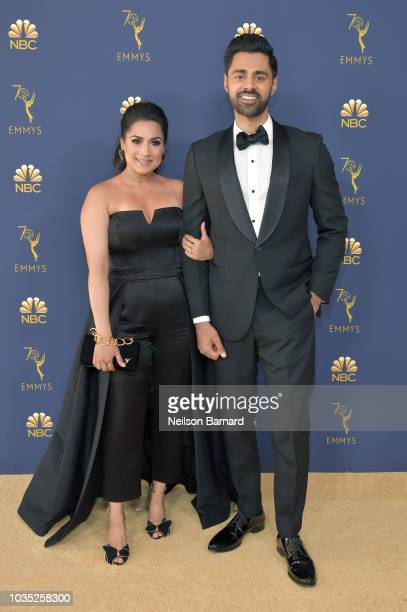 Beena Minhaj and Hasan Minhaj attend the 70th Emmy Awards at Microsoft Theater on September 17 2018 in Los Angeles California