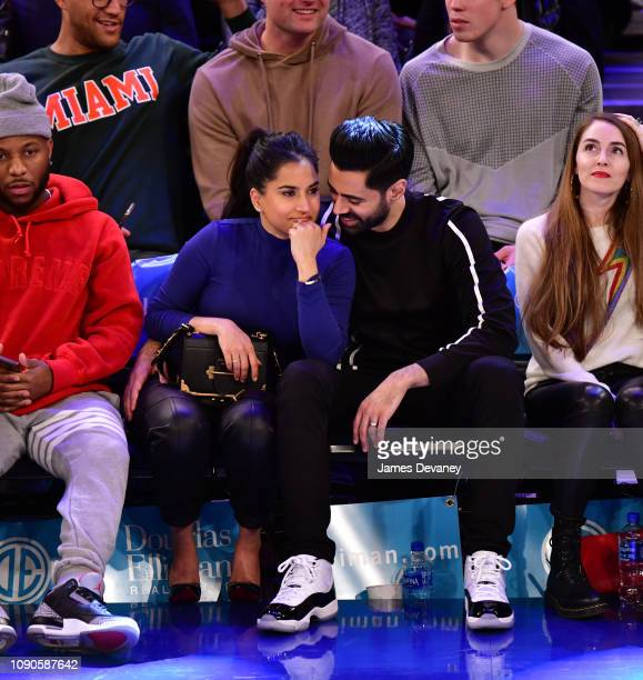 Beena Patel and Hasan Minhaj attend Miami Heat v New York Knicks game at Madison Square Garden on January 27, 2019 in New York City.