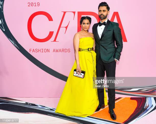 Beena Patel and Hasan Minhaj attend the 2019 CFDA Fashion Awards Arrivals at Brooklyn Museum on June 03 2019 in New York City