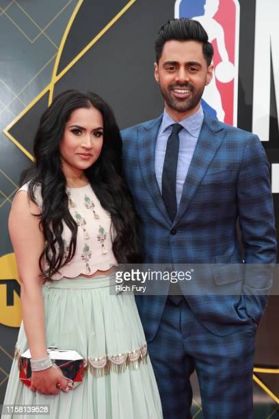 Beena Patel and Hasan Minhaj attend the 2019 NBA Awards at Barker Hangar on June 24 2019 in Santa Monica California
