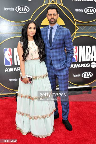 Beena Patel and Hasan Minhaj attend the 2019 NBA Awards at Barker Hangar on June 24, 2019 in Santa Monica, California.