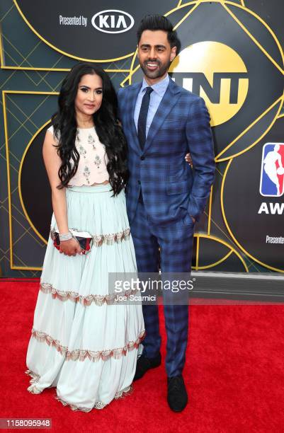 Beena Patel and Hasan Minhaj attend the 2019 NBA Awards presented by Kia on TNT at Barker Hangar on June 24, 2019 in Santa Monica, California.