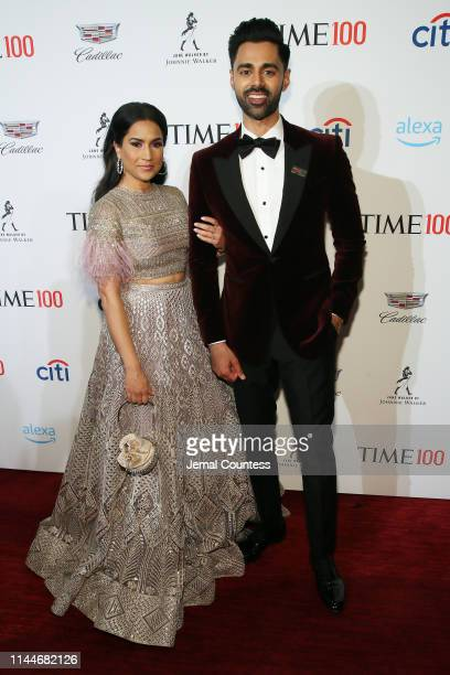 Beena Patel and Hasan Minhaj attend the TIME 100 Gala 2019 Lobby Arrivals at Jazz at Lincoln Center on April 23 2019 in New York City