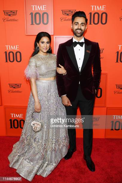 Beena Patel and Hasan Minhaj attend the TIME 100 Gala Red Carpet at Jazz at Lincoln Center on April 23 2019 in New York City