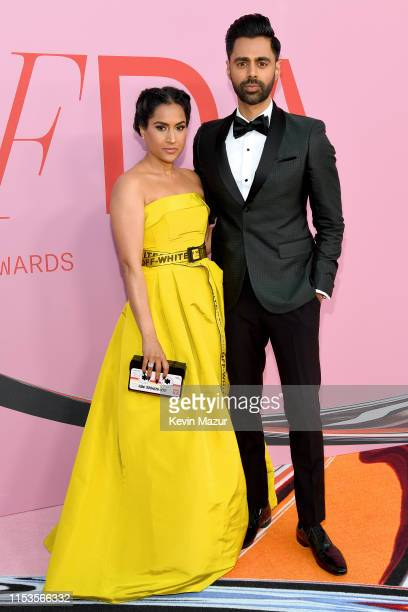 Beena Patel and Hasan Minhaj attends the CFDA Fashion Awards at the Brooklyn Museum of Art on June 03 2019 in New York City