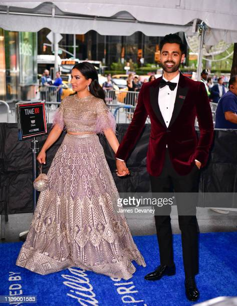 Beena Patel and Hasan Minhaj seen in Columbus Circle on their way to the 2019 Time 100 Gala on April 23, 2019 in New York City.
