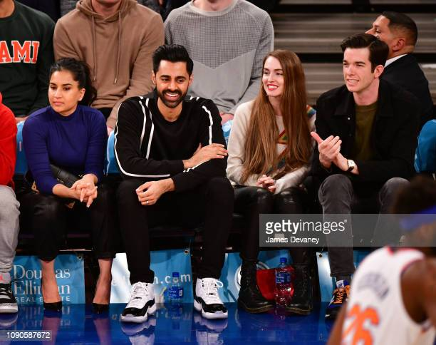 Beena Patel Hasan Minhaj Annamarie Tendler and John Mulaney attend Miami Heat v New York Knicks game at Madison Square Garden on January 27 2019 in...