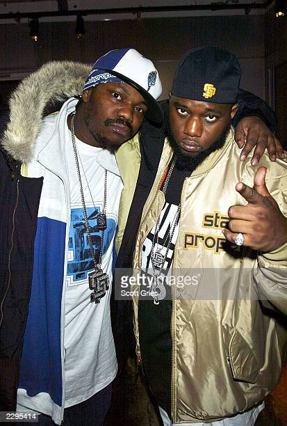 Beenie Siegel and Freeway stand backstage during MTV's Direct Effect at the MTV studios February 27 2003 in New York City
