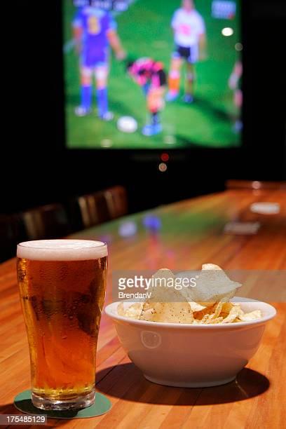 Beer and Chips at a Bar