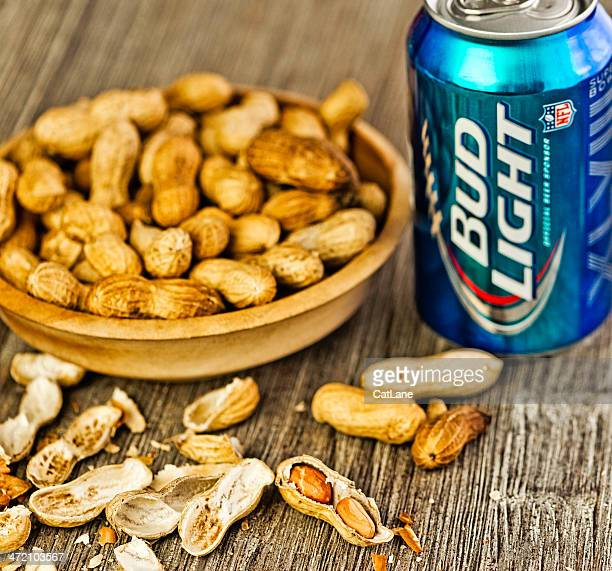 beer and peanuts - bud light stock pictures, royalty-free photos & images