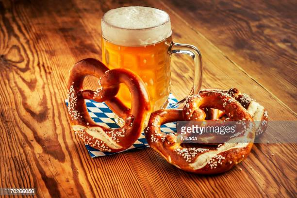beer and pretzel, oktoberfest germany - bavaria stock pictures, royalty-free photos & images
