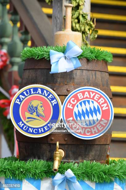 A beer barrel with the logo of FC Bayern Muenchen and Paulaner beer brewery photographed at the Oktoberfest beer festival at Kaefer Wiesnschaenke...