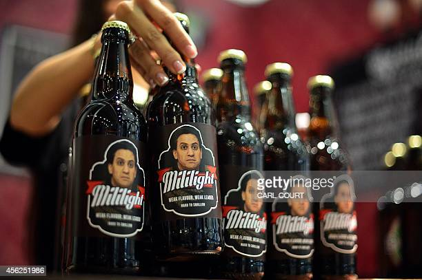 Beer bottles bearing the picture of leader of Britain's main opposition Labour Party Ed Miliband are displayed in a fake bar selling beer and snacks...