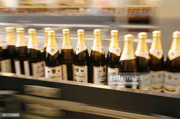 Beer Bottles on Conveyor at Radenberg Brewery