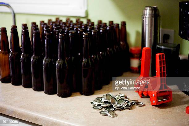 Beer bottles waiting to be filled, capped