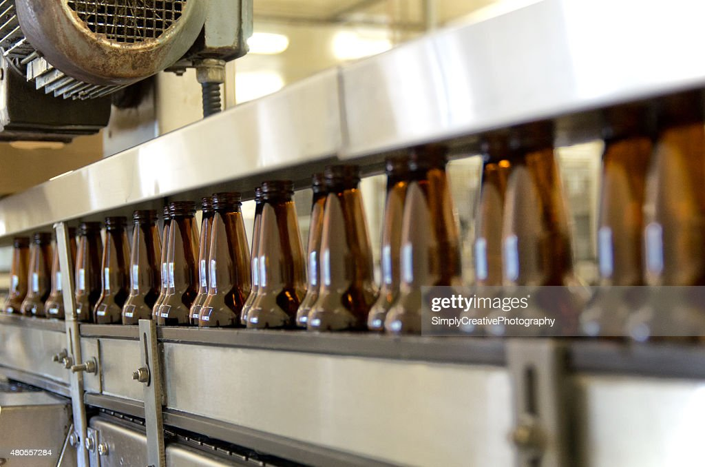 Beer Bottling Production Equipment : Stock Photo