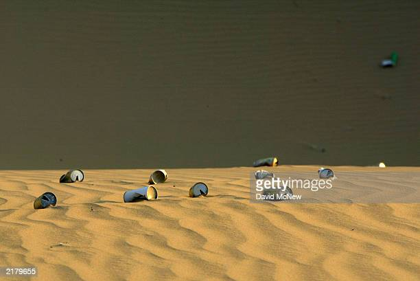Beer cans left in a offroad vehicle area litter the Algodones Dunes also known as the Imperial Dunes or American Sahara on July 20 near Glamis...