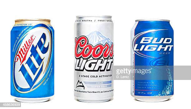 beer cans - miller lite stock pictures, royalty-free photos & images