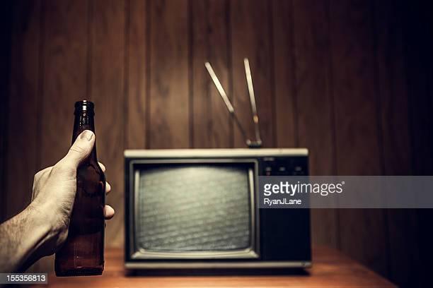 Beer Drinking Man Watching Retro Television