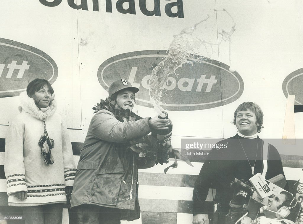 Beer flows like champagne as Gilles Villeneuve uncorks his jubilation at first Grand Prix triumph : News Photo