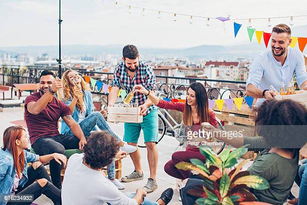 Beer for the friends on the rooftop party