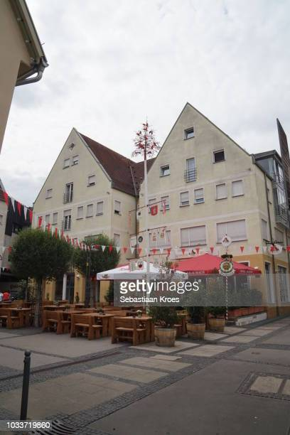 Beer garden and Maibaum in Bad Cannstatt, Stuttgart, Germany