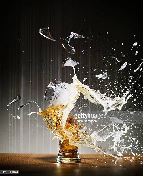 Beer glass exploding