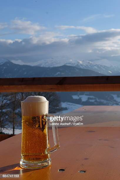 Beer Glass On Wooden Table
