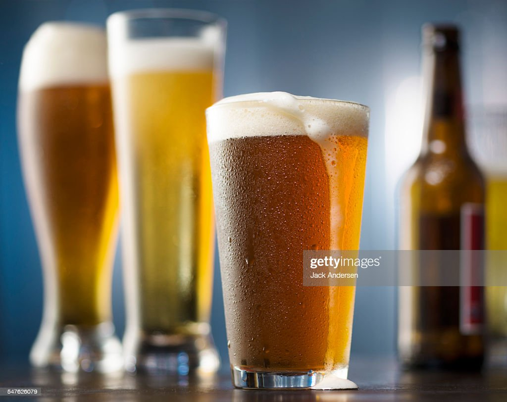 Beer glasses and bottles in enironment : Stock Photo
