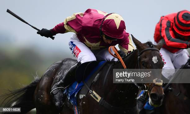Beer Goggles ridden by Daryl Jacob race clear to win the Weatherbys Racing Bank Handicap Hurdle at Newton Abbot Racecourse on October 13 2017 in...