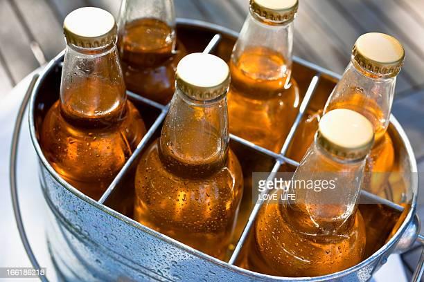 Beer in a bucket.