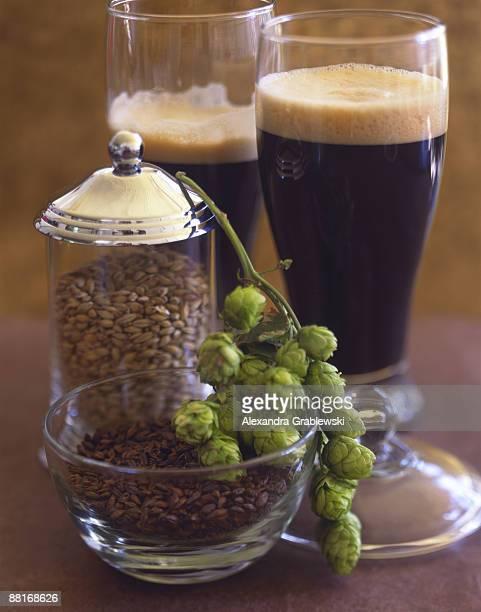 Beer ingredients with beer glasses