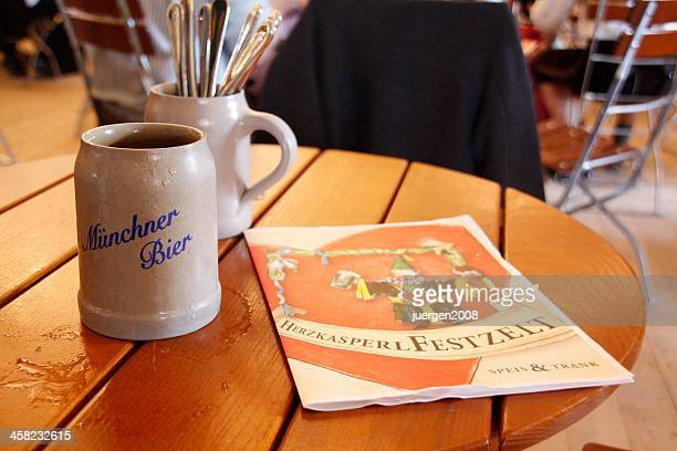 beer mug and dining card - beer stein stock photos and pictures