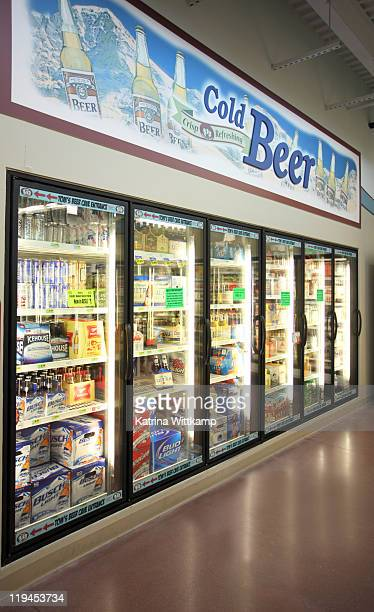 Beer section of grocery store.