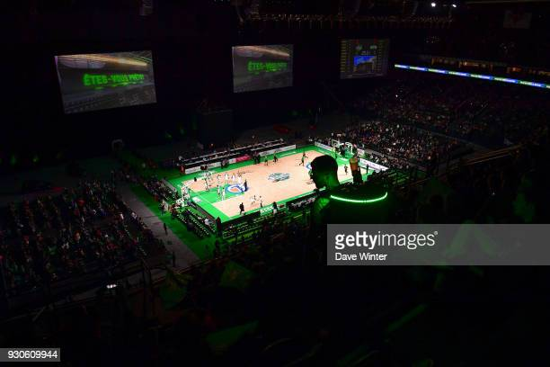 A beer seller in the stands during the Jeep Elite match between Nanterre and Lyon Villeurbanne at U Arena on March 11 2018 in Nanterre France