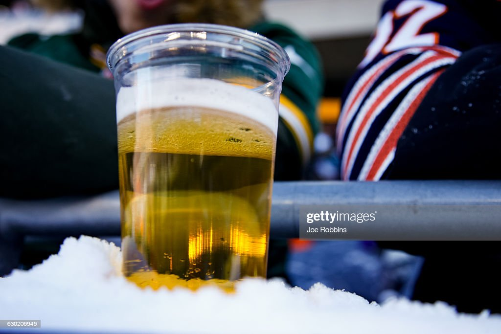 A beer sits on a snowy ledge during the game between the Chicago Bears and the Green Bay Packers at Soldier Field on December 18, 2016 in Chicago, Illinois.