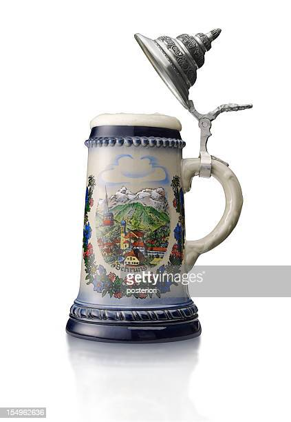 beer stein on white background - beer stein stock photos and pictures