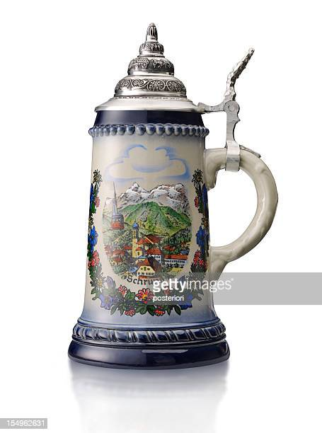 beer stein on white - beer stein stock photos and pictures