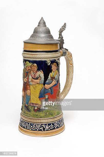 beer stein with white background (2) - beer stein stock photos and pictures