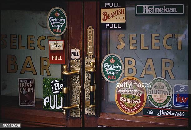 Beer Stickers on Dohen and Nesbitts' Pub Door
