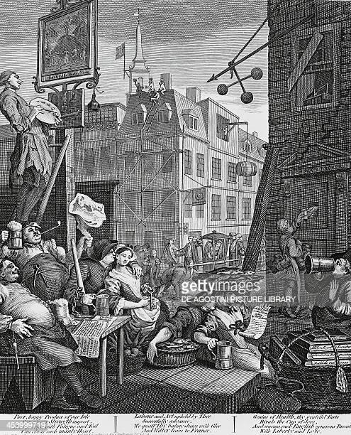 Beer Street, London, engraving by William Hogarth . United Kingdom, 18th century.